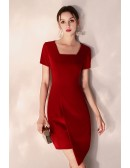 Bodycon Red Short Party Dress Square Neck Short Sleeves