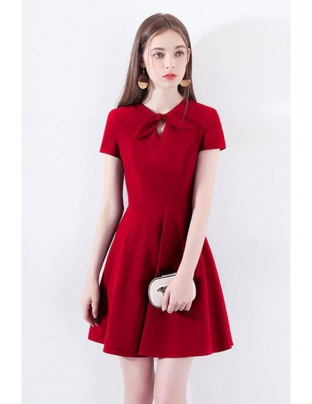 Retro Chic Short Sleeve Little Red Dress With Bow Knot