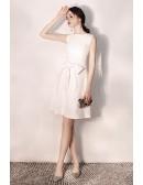 Elegant Short White Hoco Party Dress With Big Bow Sash