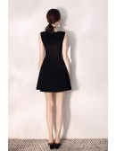 Simple Little Black Flare Party Dress Short With Vneck