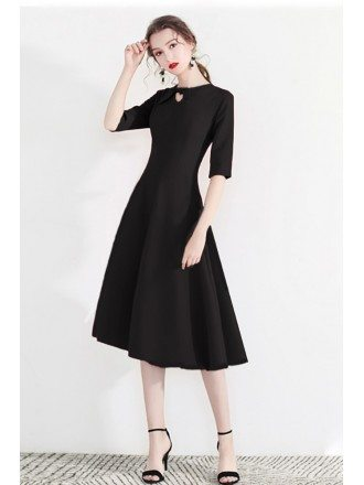 Modest Aline Black Semi Party Dress With Retro Bow