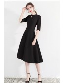 Modest Aline Black Semi Party Dress With Retro Bow