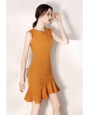 Bodycon Fitted Mermaid Short Party Dress With Round Neck