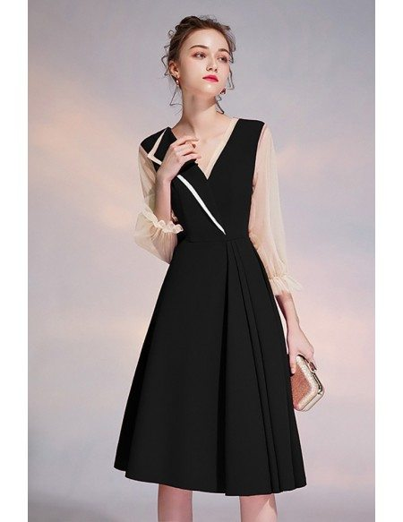 Elegant Black Vneck Knee Length Party Dress With Sheer Sleeves