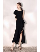 Side Slit Mermaid Black Party Dress With One Sleeve