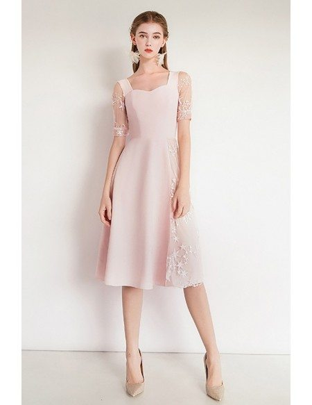 Asymmetrical Design Pink Lace Party Dress With Short Sleeves