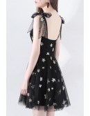 Super Cute Star Black Tulle Short Party Dress With Bow Straps