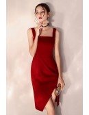 Bodycon Little Red Short Party Dress Fitted With Slit