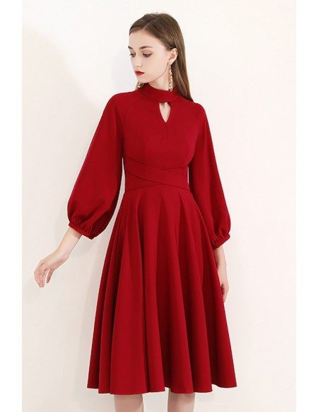 Burgundy Modest Knee Length Party Dress With Bubble Sleeves