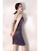 Sparkly Purple Bodycon Short Party Dress With Spaghetti Straps