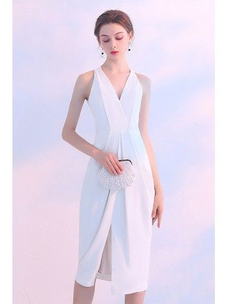 Formal Short White Vneck Party Dress With Slit