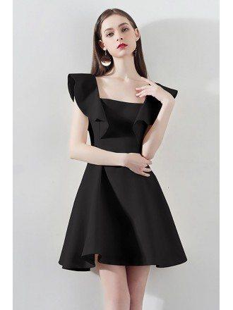 Fashion Black Square Neck Aline Party Dress