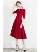 Modest Aline Red Semi Party Dress With Retro Bow