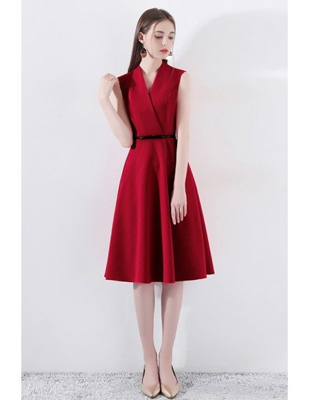 Formal Short Red Wrap Vneck Party Dress Sleeveless