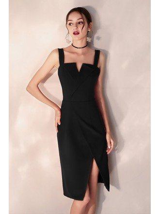 Little Black Bodycon Party Dress Short With Slit Straps