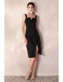 Little Black Bodycon Party Dress Short With Slit Straps