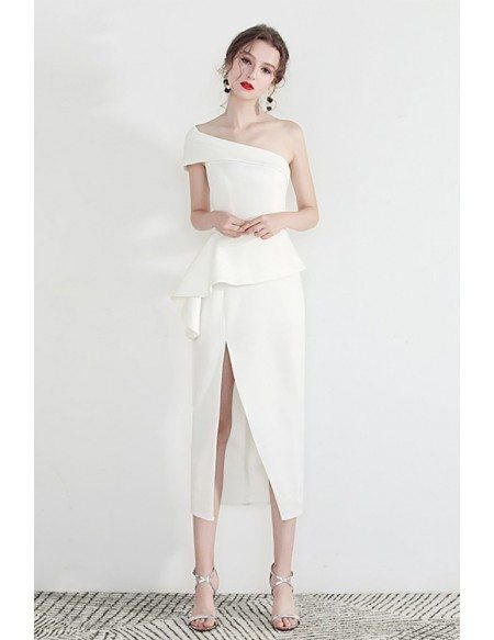Formal White One Shoulder Bodycon Party Dress With Side Slit