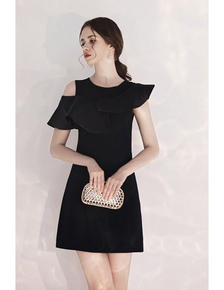 Slim Little Black Semi Formal Dress With Flounce
