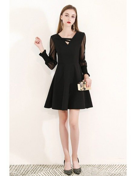 Little Black Bubble Long Sleeve Party Dress Semi Formal