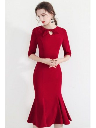 Vintage Bow Knot Fitted Mermaid Party Dress With Half Sleeves