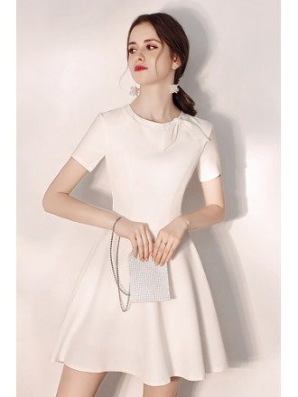 Cute Bow Knot Round Neck Little White Hoco Dress With Sleeves