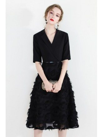 Black Vogue Knee Length Party Dress With Suit Collar