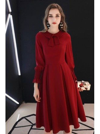 Retro Knee Length Burgundy Party Dress With Long Sleeves Bow Knot