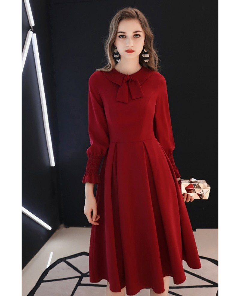 knee length long sleeve party dress