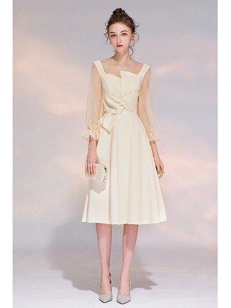 Elegant Champagne Party Dress Aline With 3/4 Sleeves