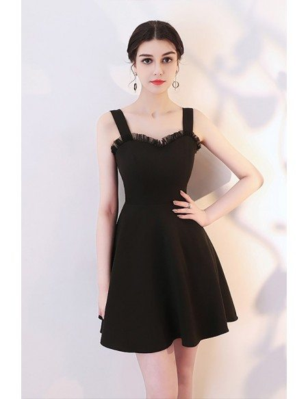 Little Black Aline Short Semi Party Dress With Straps