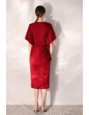 Sexy Slit Red Party Dress Vneck With Sash Sleeves