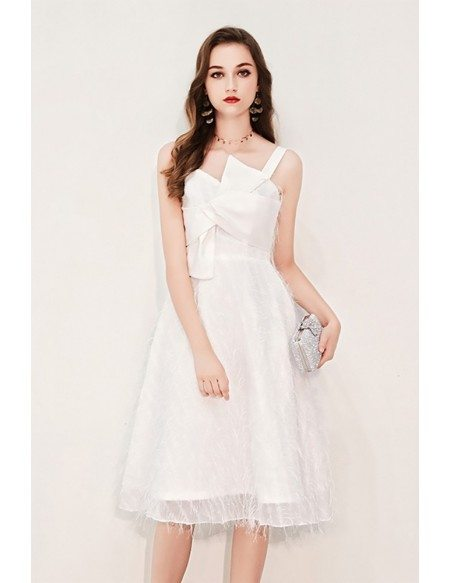 Pretty White Lace Party Dress With Big Bow Front