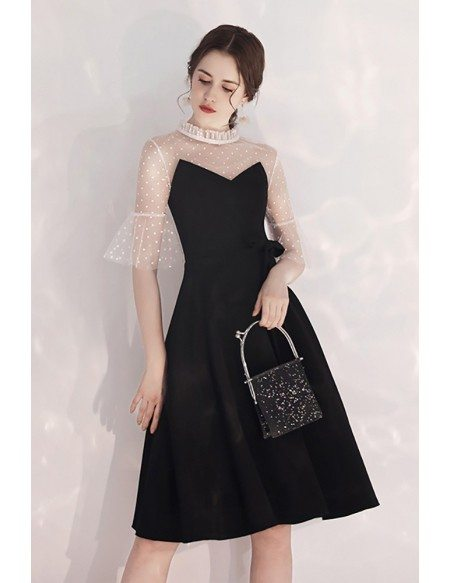 French Chic Black And White Party Dress Aline With Polka Dot