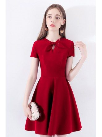 Red Aline Short Party Dress With Short Sleeves Bow Knot