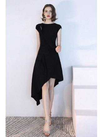 Black Asymmetrical Short Black Party Dress With Cap Sleeves