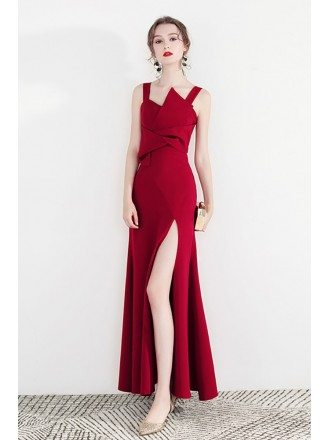 Special Long Red Side Split Party Dress With Straps