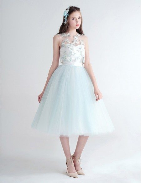 Cute Ball-Gown Strapless Tea-Length Tulle Dress With Flower Wrap