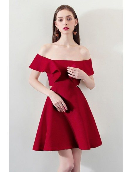 Fashion Red Square Neck Aline Party Dress