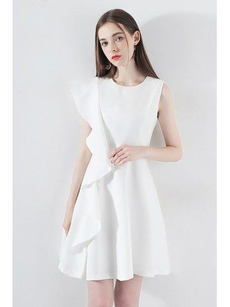 Little White Asymmetrical Sleeve Hoco Dress With Ruffles