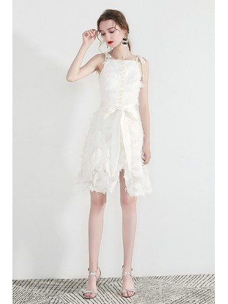 Pretty Little White Hoco Dress With Bow Straps