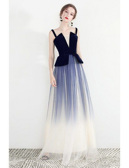 Unique Ombre Blue Long Tulle Party Dress With Straps