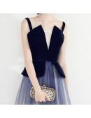 Unique Ombre Blue Long Tulle Party Dress With Straps