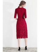 Formal Short Red Lace Slit Party Dress With Suit Collar