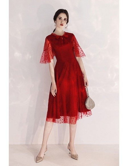 Romantic Polka Dot Lace Burgundy Tulle Party Dress With Sleeves Bow Neckline