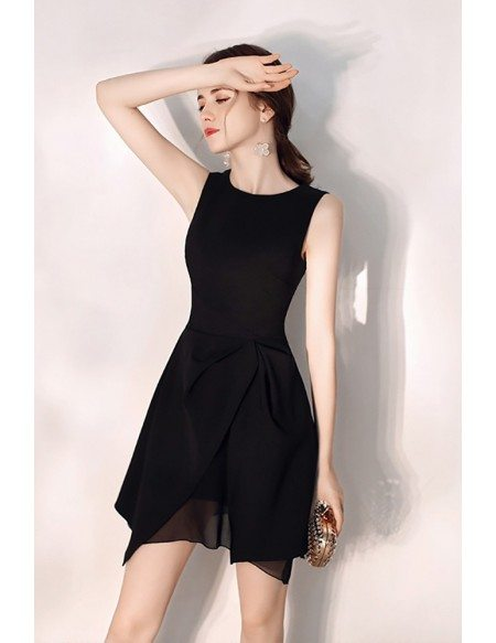 Little Black Round Neck Slim Party Dress With Tulle