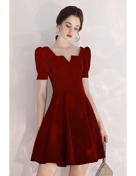Burgundy Short Aline Party Dress With Bubble Short Sleeves