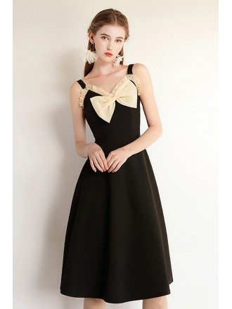 French Chic Black Knee Length Party Dress With Big Bow Straps