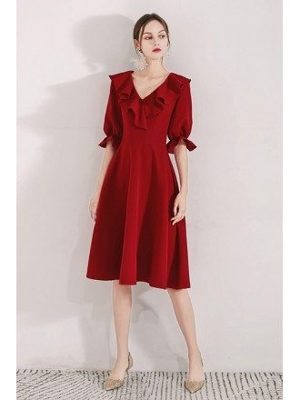 Burgundy Red Aline Knee Length Party Dress With Flounce Neckline