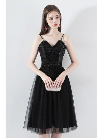 Black Sequins Tulle Aline Party Dress With Spaghetti Straps