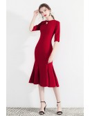 Retro Chic Red Bodycon Party Dress Mermaid With Sleeves